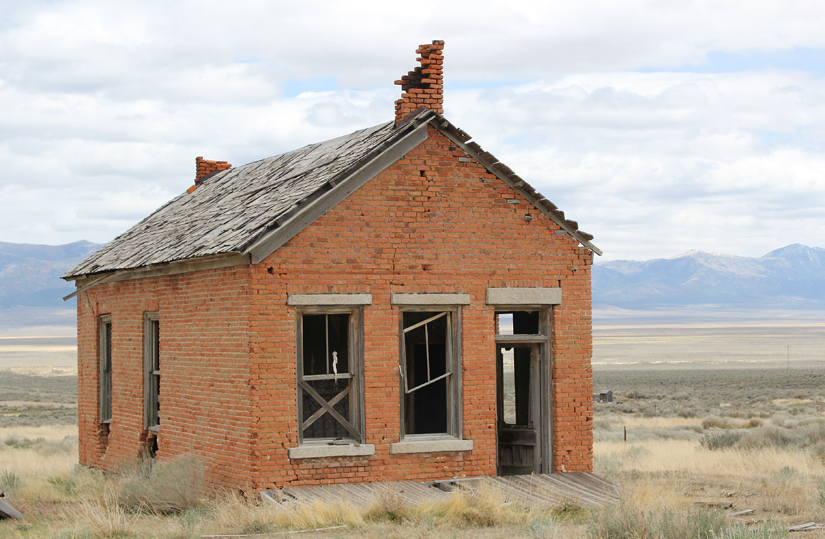 A crumbling one-room schoolhouse in Cherry Creek, Nevada