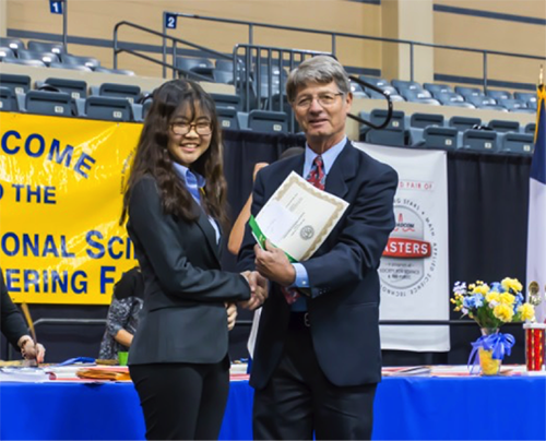 "First Place and $125 Sandra Moon, Lady Bird Johnson High School ""A Genetic Polymorphism in the PCSK9 Gene Associated with a Rapid HIV Disease Progression Among European- and Hispanic-Americans"""
