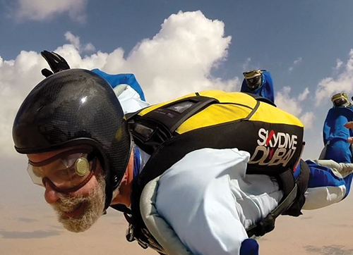 Moulton after jumping from an airplane in Dubai in October of 2015. Photo by C Laszio