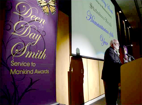 Karl Peace expresses his gratitude and recognizes others he has worked with after being named Humanitarian of the Year during the 2017 Deen Day Smith Service to Mankind Awards banquet at the Nessmith-Lane Conference Center.