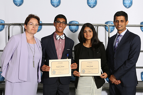 From left: Olga Korosteleva (president, SCASA), second-place winner Tejas S. Athni, third-place winner Isani Singh, and Gajanan Bhat (president, OCLBASA) at the Special Awards ceremony.  First-place winner, Davey Hideo Huang, was unable to attend the awards ceremony.