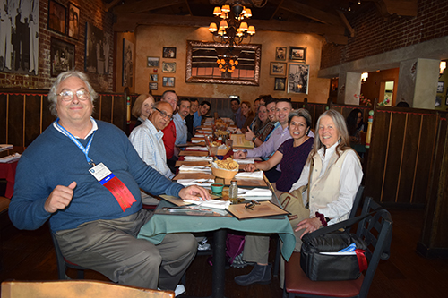 Statisticians enjoy the ASA-hosted dinner at the 2017 Intel International Science and Engineering Fair.
