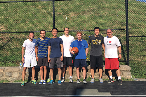 At this 2017 meeting, a group of attendees played in a pick-up basketball game. From left: Sahand Negahban, Ryan Tibshirani, Dave Zhao, Lee Richardson, Joey Antonelli, Ryan Sun,  and Rob Tibshirani.