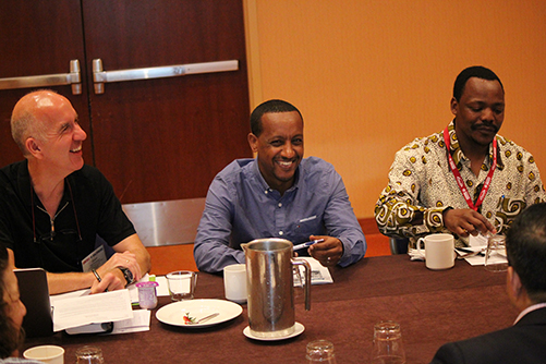 Geert Molenberghs, committee chair, Abel Tilahun Eshete, and Honoré Mitonga Kabwebwe, the ASA's educational ambassador for 2017